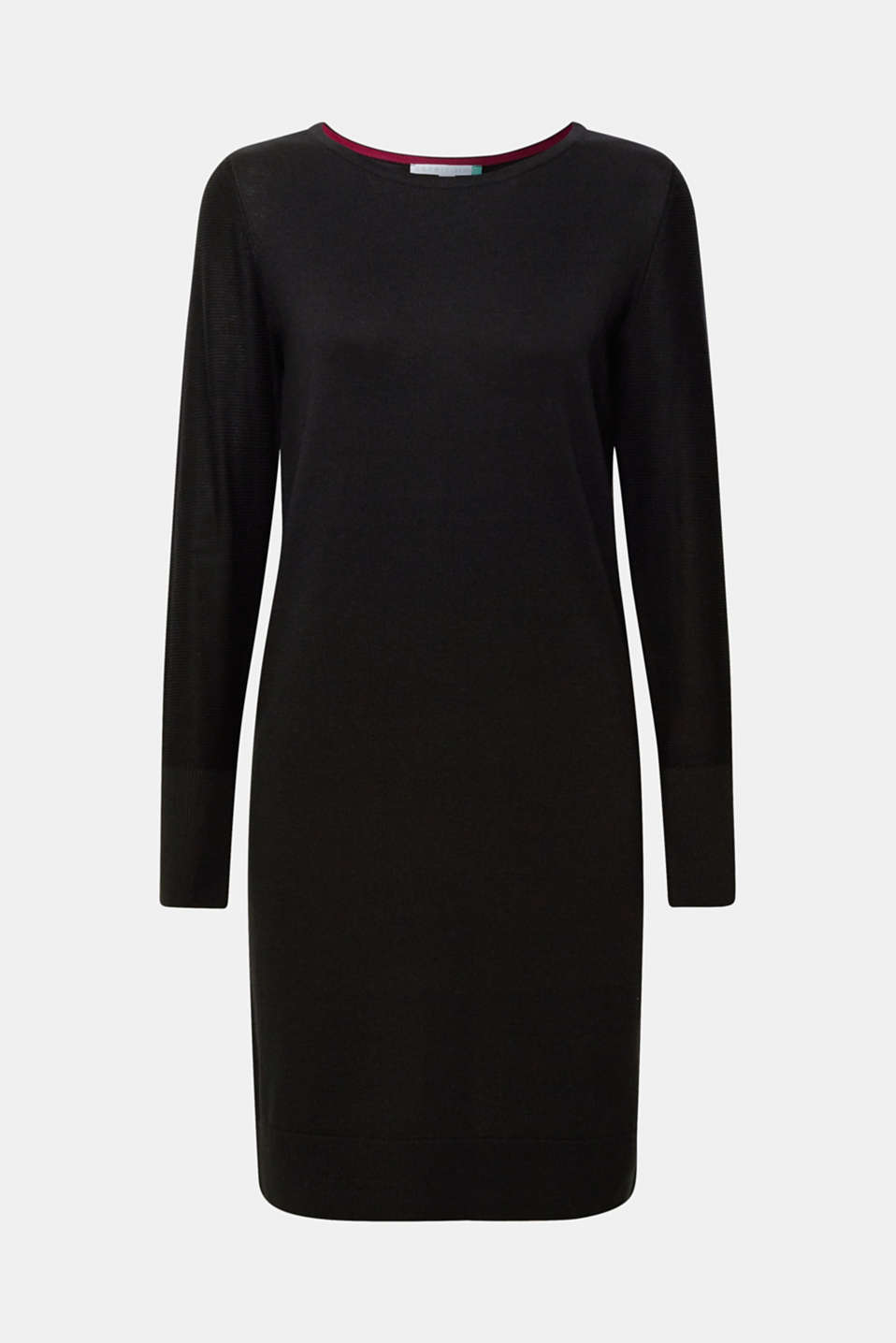 Fine knit dress with organic cotton, BLACK, detail image number 6
