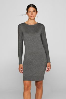 Fine knit dress with organic cotton, DARK GREY 5, detail