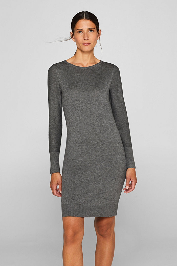 Fine knit dress with organic cotton, DARK GREY, detail image number 0