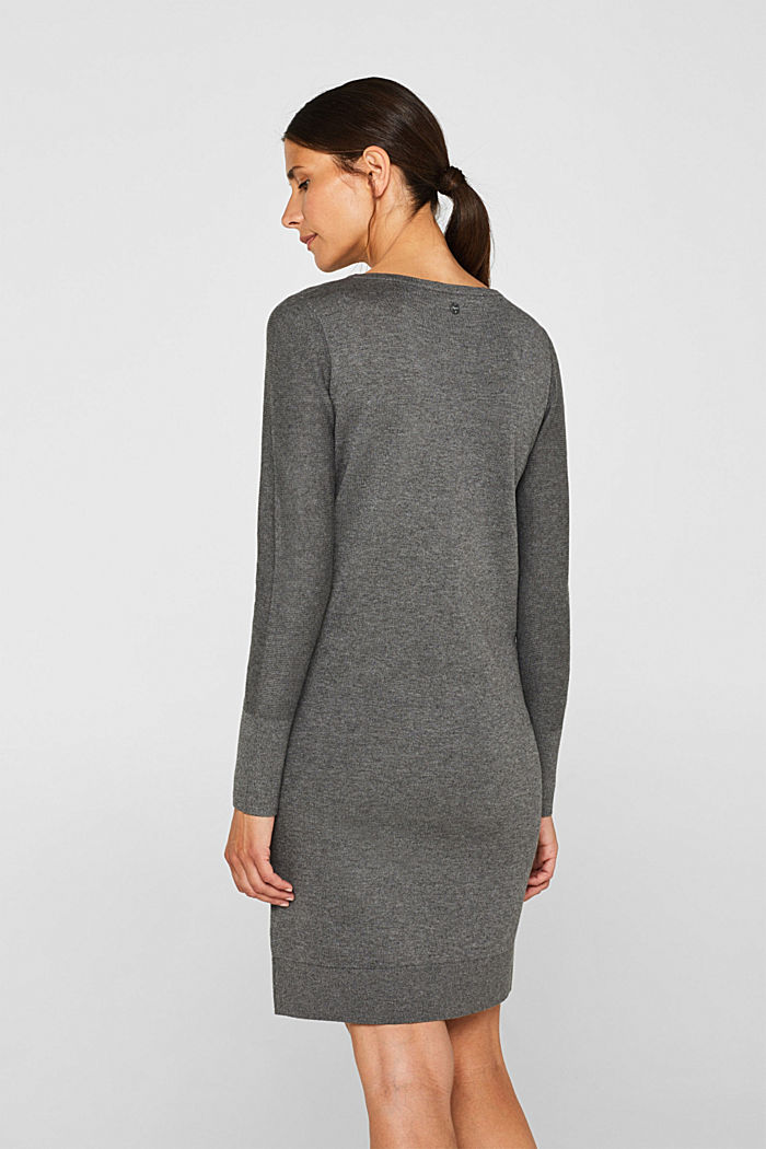 Fine knit dress with organic cotton, DARK GREY, detail image number 1