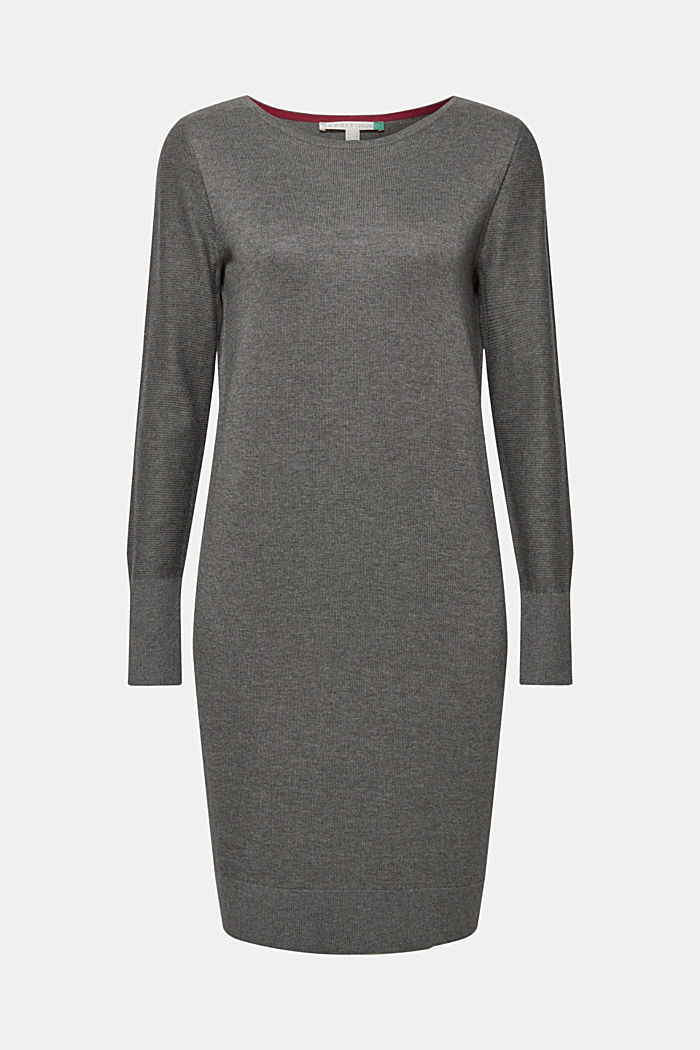 Fine knit dress with organic cotton, DARK GREY, detail image number 5