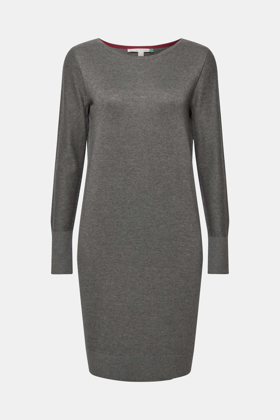 Fine knit dress with organic cotton, DARK GREY 5, detail image number 5