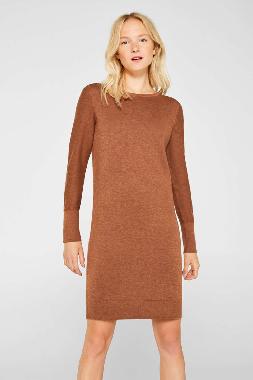 Fine knit dress with organic cotton, CARAMEL 5, detail image number 0
