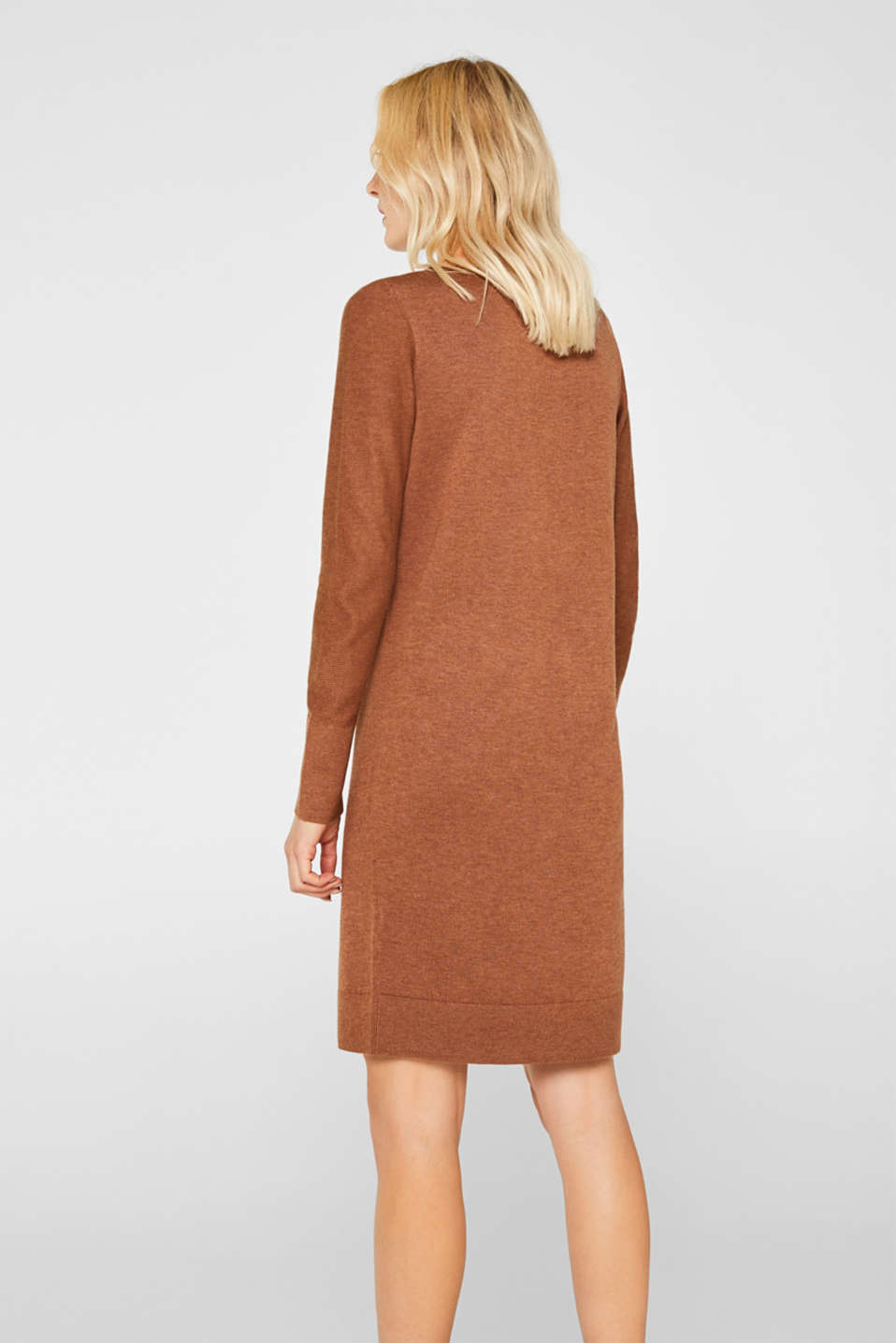 Fine knit dress with organic cotton, CARAMEL 5, detail image number 2