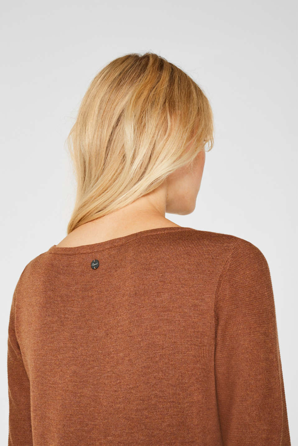 Fine knit dress with organic cotton, CARAMEL 5, detail image number 3