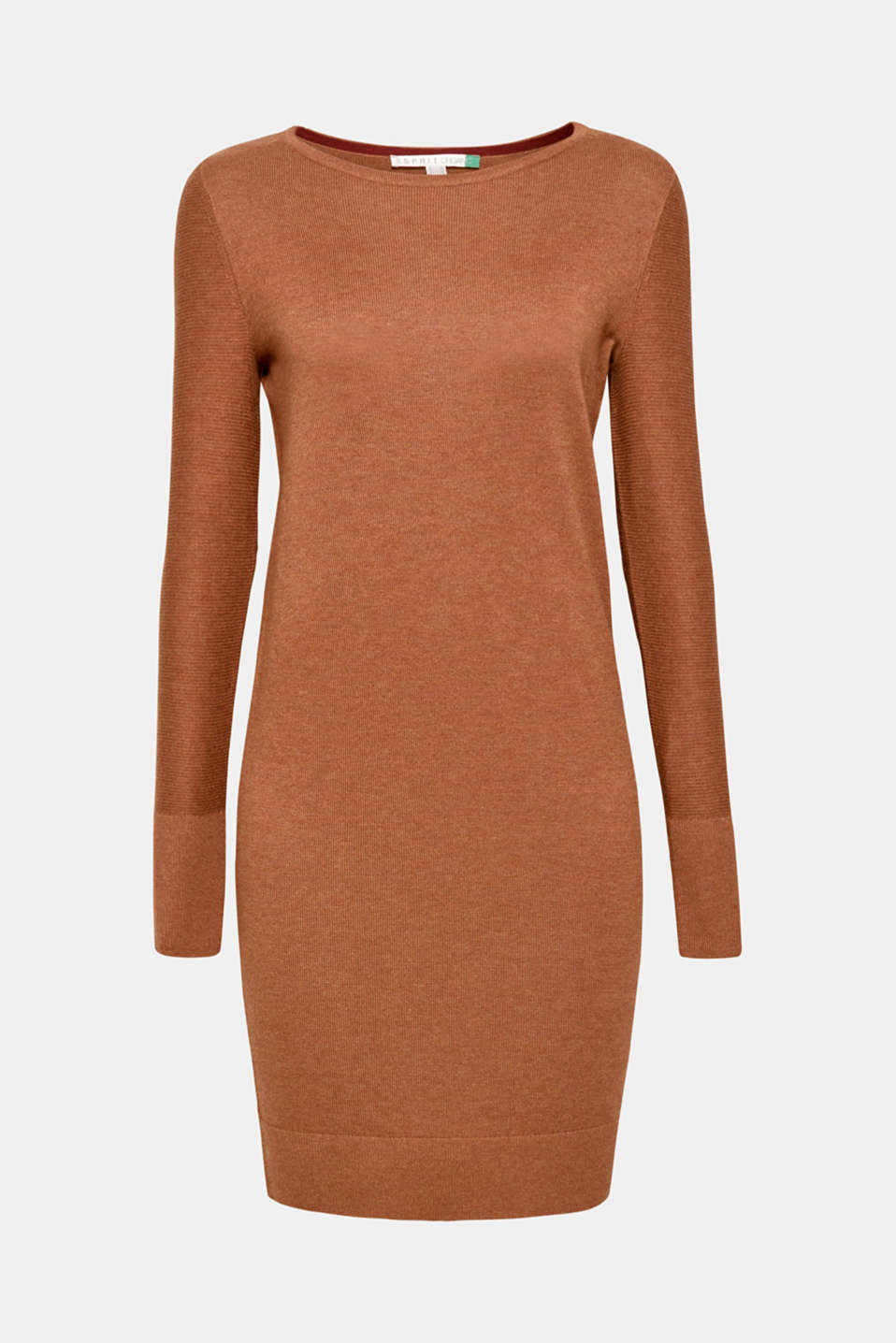 Fine knit dress with organic cotton, CARAMEL 5, detail image number 6