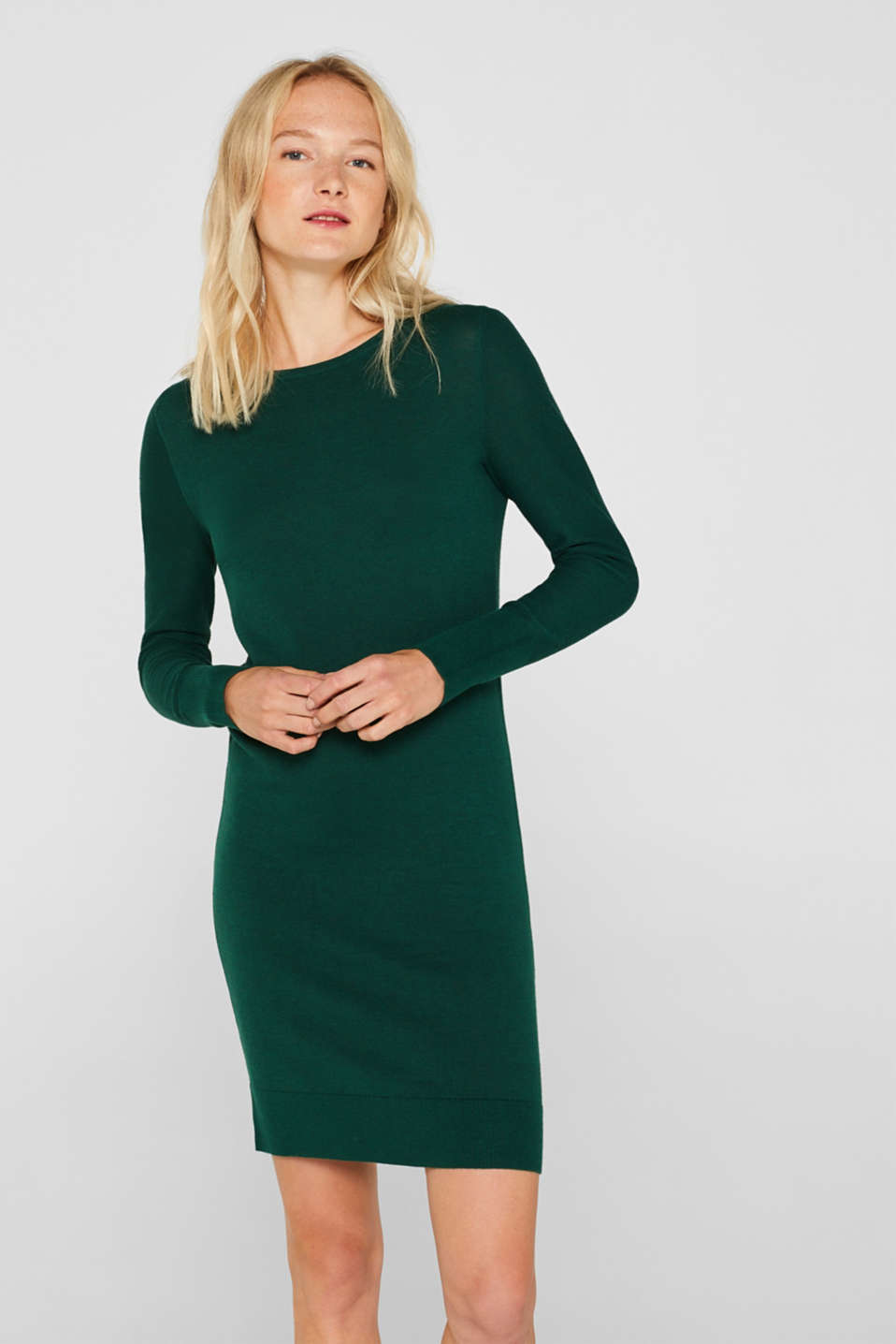 Fine knit dress with organic cotton, BOTTLE GREEN 5, detail image number 0