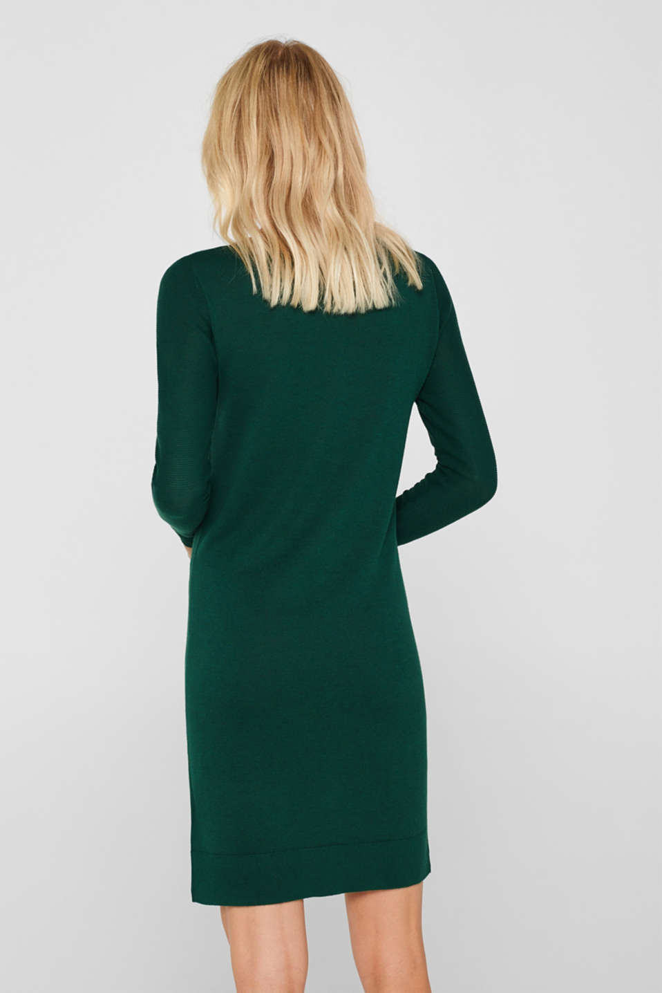 Fine knit dress with organic cotton, BOTTLE GREEN 5, detail image number 2