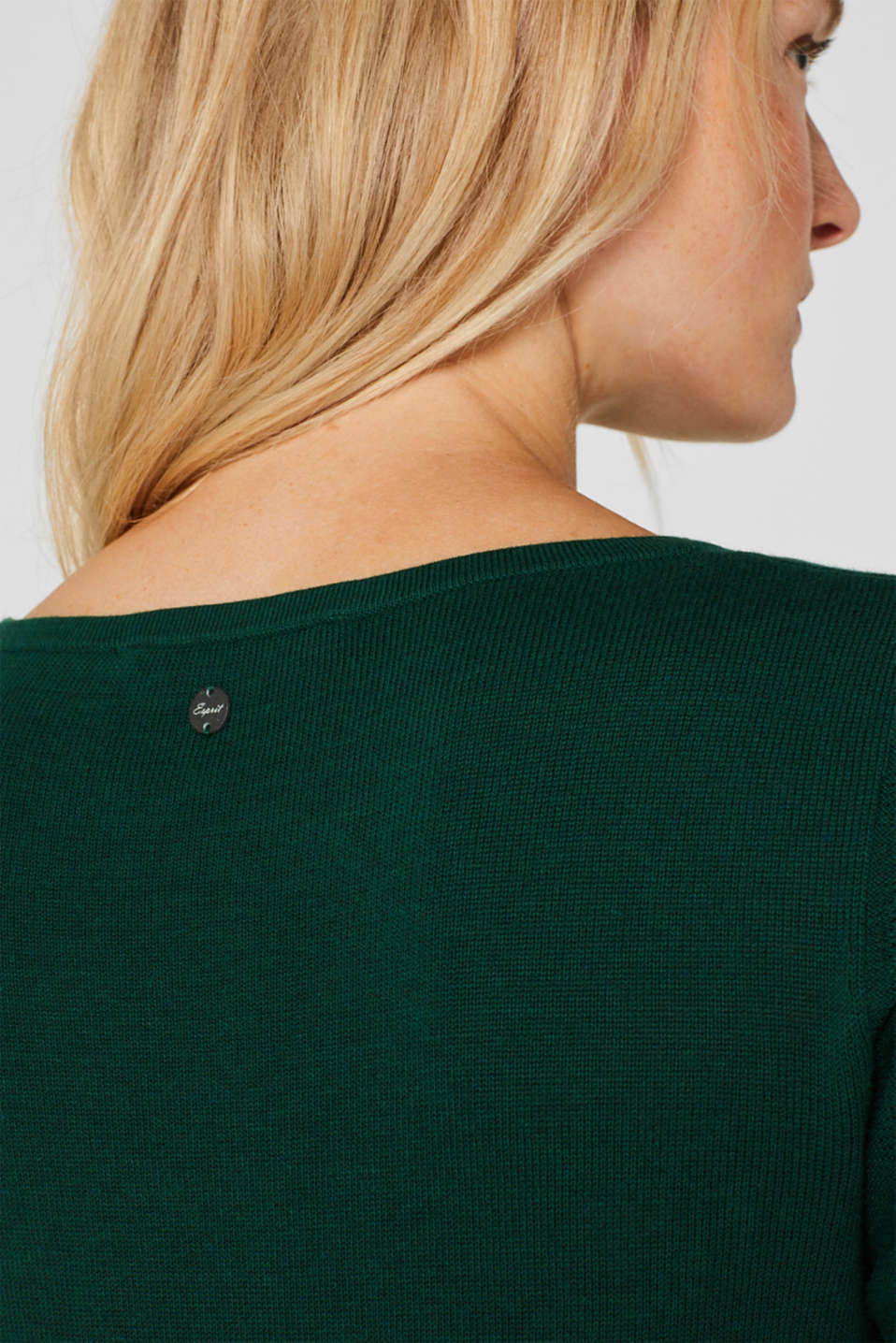 Fine knit dress with organic cotton, BOTTLE GREEN 5, detail image number 3