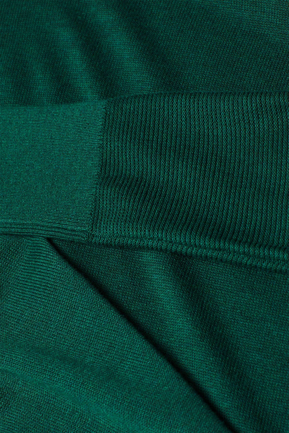 Fine knit dress with organic cotton, BOTTLE GREEN 5, detail image number 4