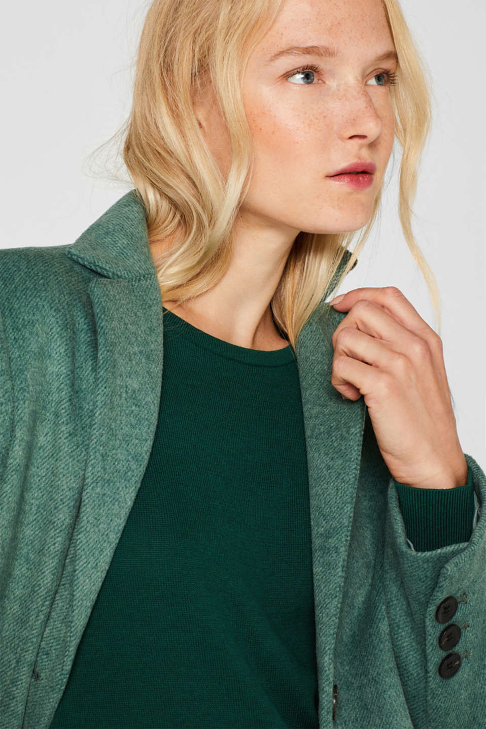 Fine knit dress with organic cotton, BOTTLE GREEN 5, detail image number 5