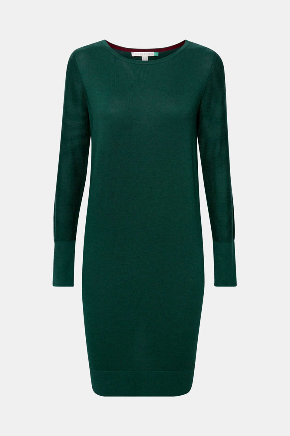 Fine knit dress with organic cotton, BOTTLE GREEN 5, detail image number 6