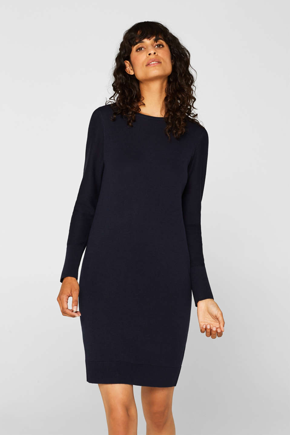 Fine knit dress with organic cotton, NAVY, detail image number 0