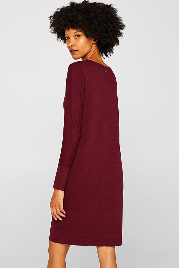 Fine knit dress with organic cotton, BORDEAUX RED, detail image number 2