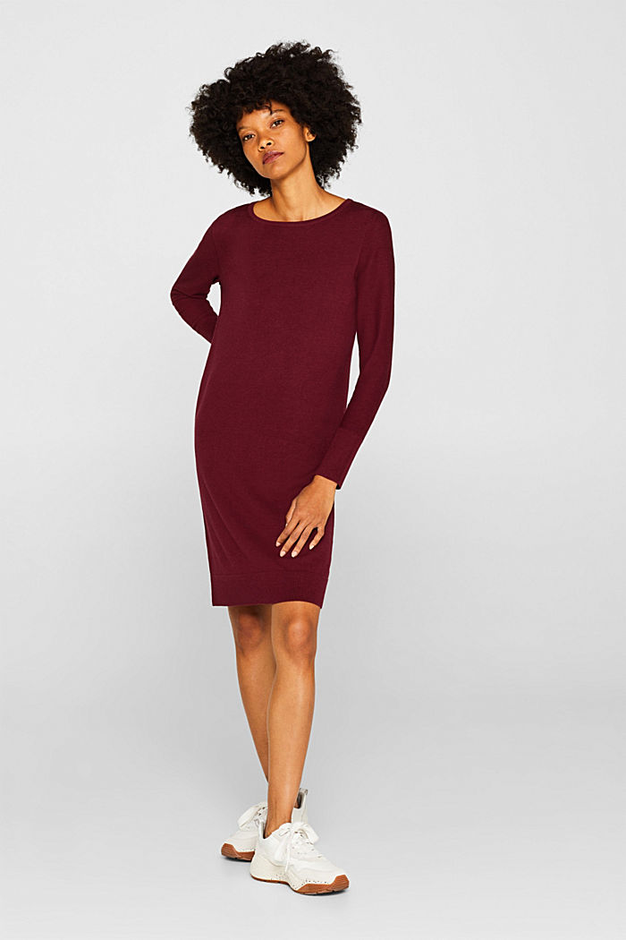 Fine knit dress with organic cotton, BORDEAUX RED, detail image number 1