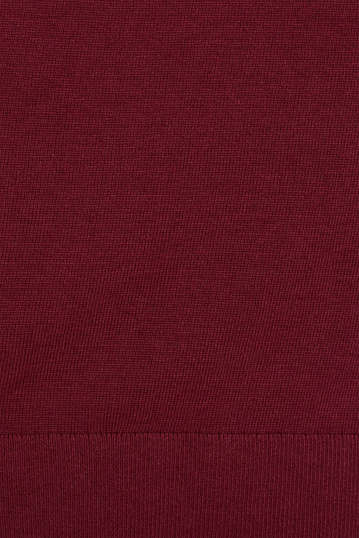 Fine knit dress with organic cotton, BORDEAUX RED, detail image number 4