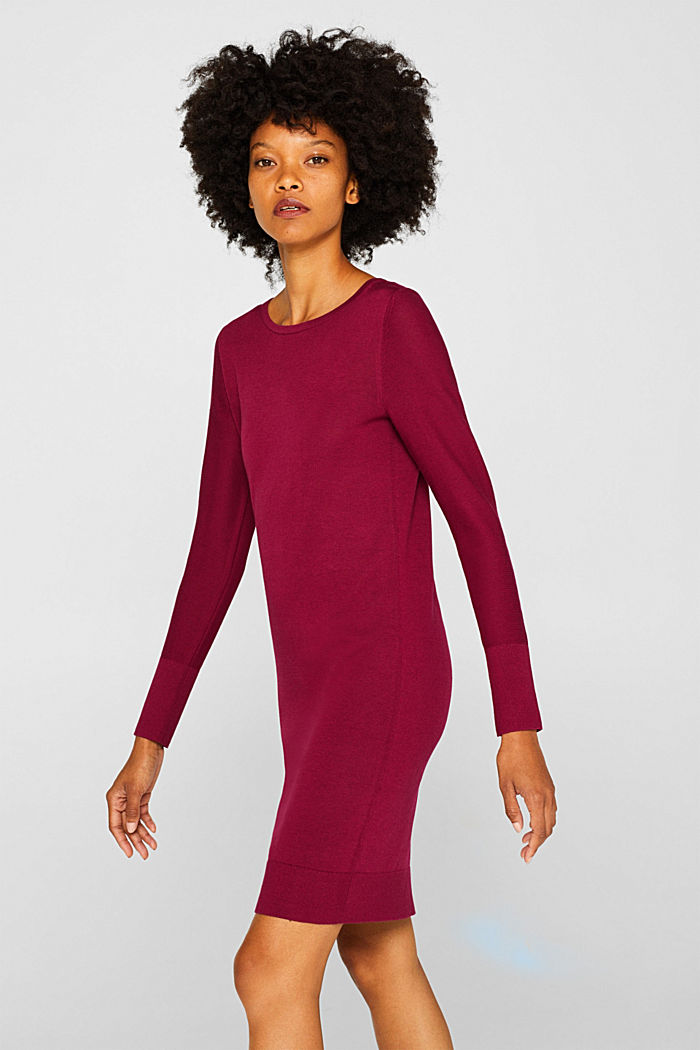 Fine knit dress with organic cotton, GARNET RED, detail image number 0