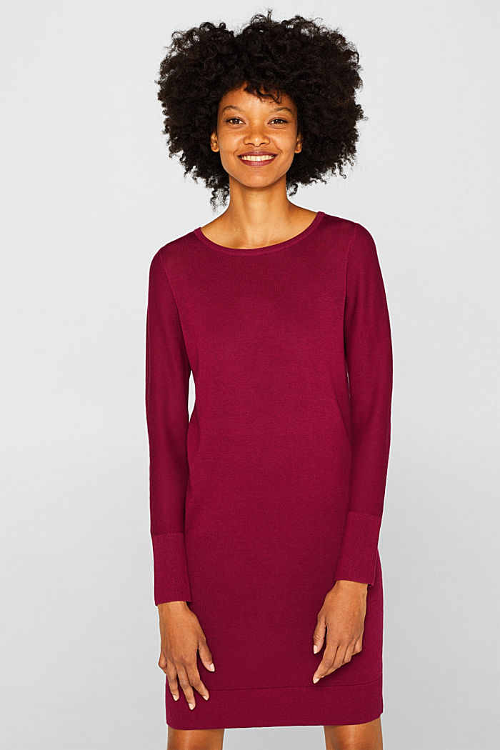 Fine knit dress with organic cotton, GARNET RED, detail image number 5