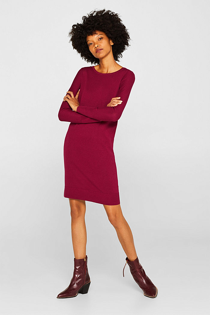 Fine knit dress with organic cotton, GARNET RED, detail image number 1