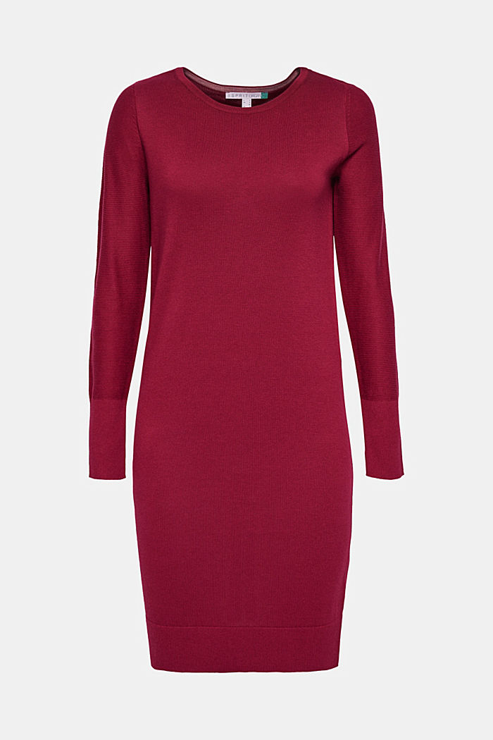 Fine knit dress with organic cotton, GARNET RED, detail image number 6