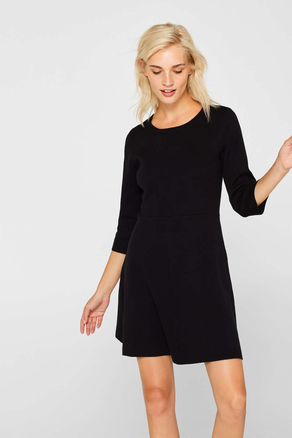 Compact knit dress in an A-line silhouette, BLACK, detail image number 0