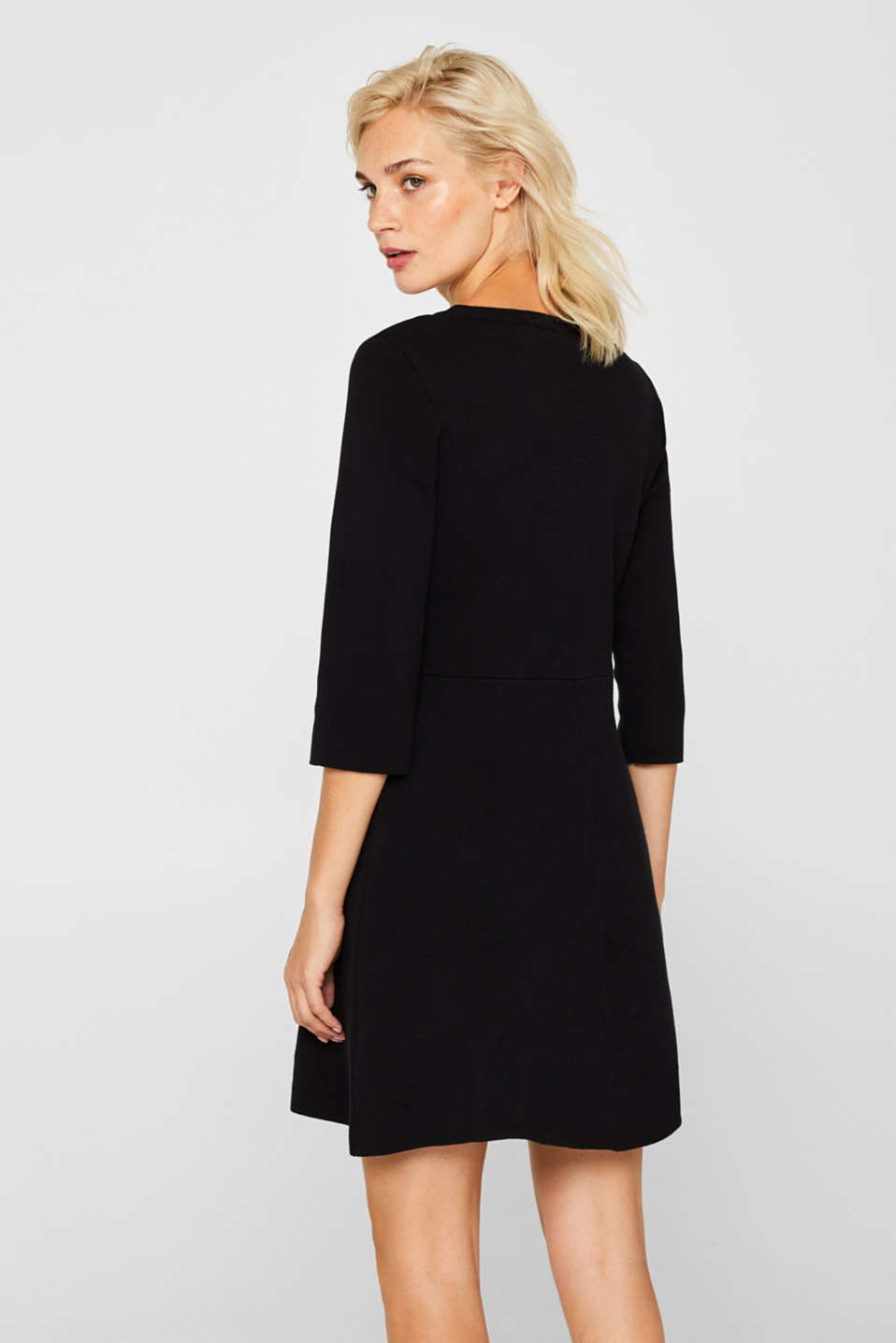 Compact knit dress in an A-line silhouette, BLACK, detail image number 1