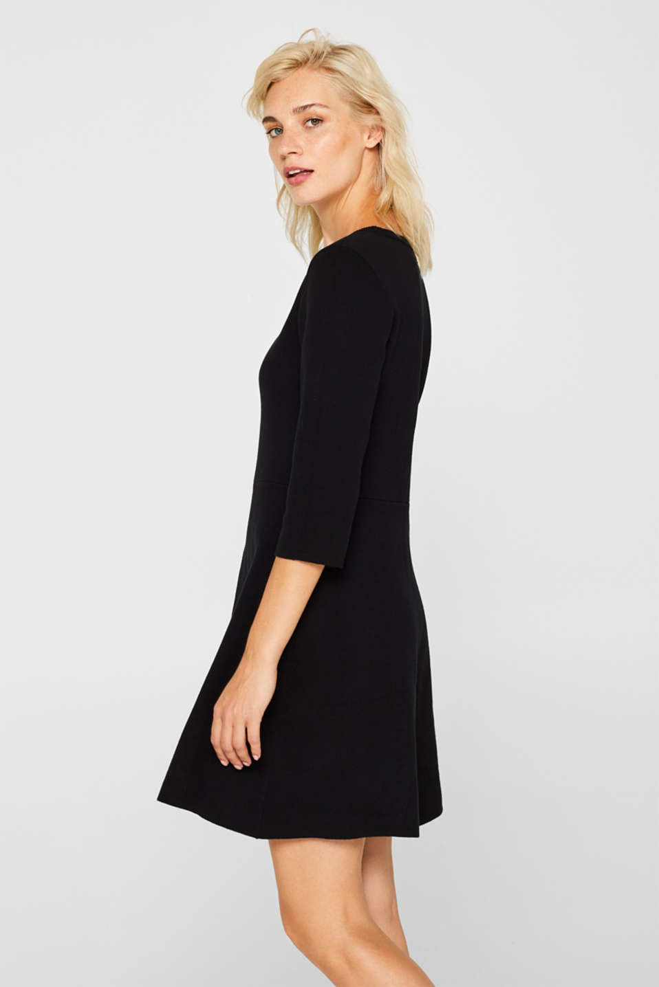 Compact knit dress in an A-line silhouette, BLACK, detail image number 3