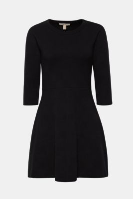 Compact knit dress in an A-line silhouette, BLACK, detail