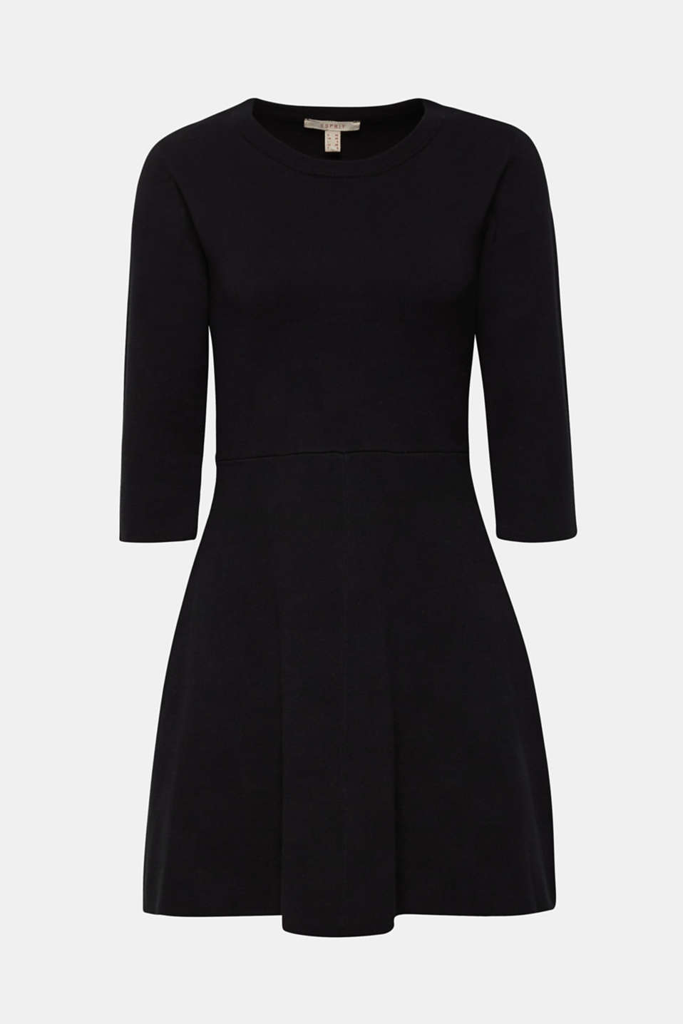 Compact knit dress in an A-line silhouette, BLACK, detail image number 4