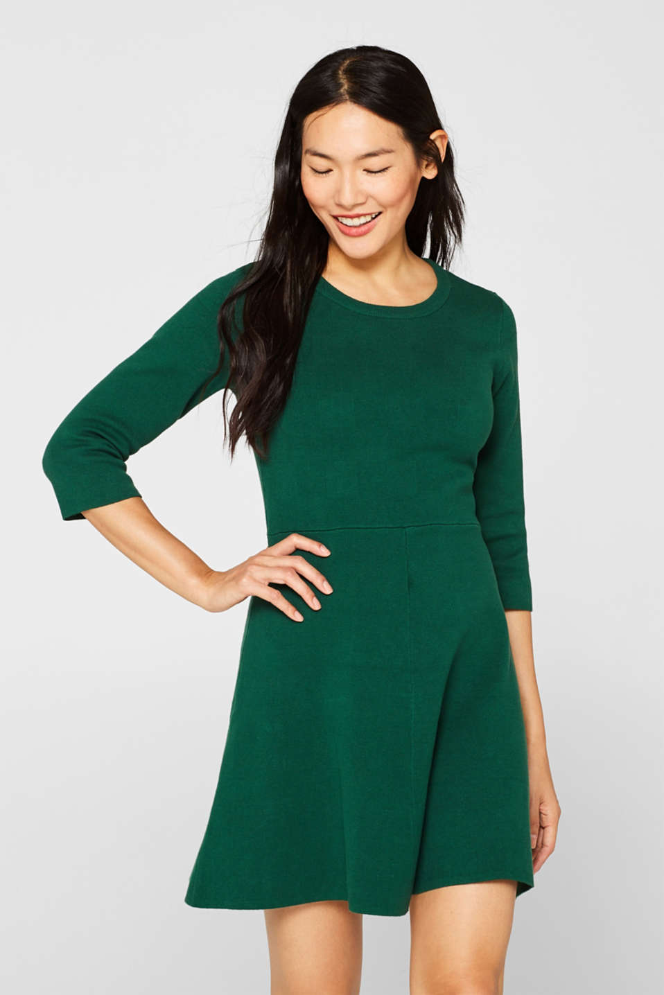 Compact knit dress in an A-line silhouette, BOTTLE GREEN, detail image number 0