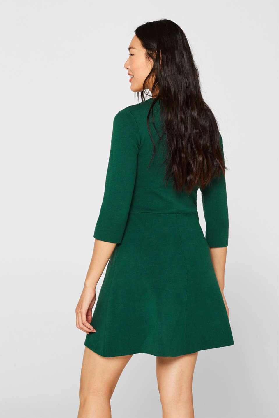 Compact knit dress in an A-line silhouette, BOTTLE GREEN, detail image number 2