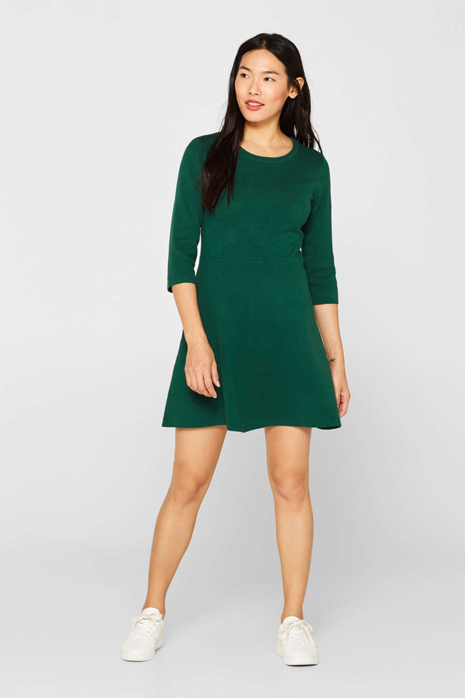 Compact knit dress in an A-line silhouette, BOTTLE GREEN, detail image number 1