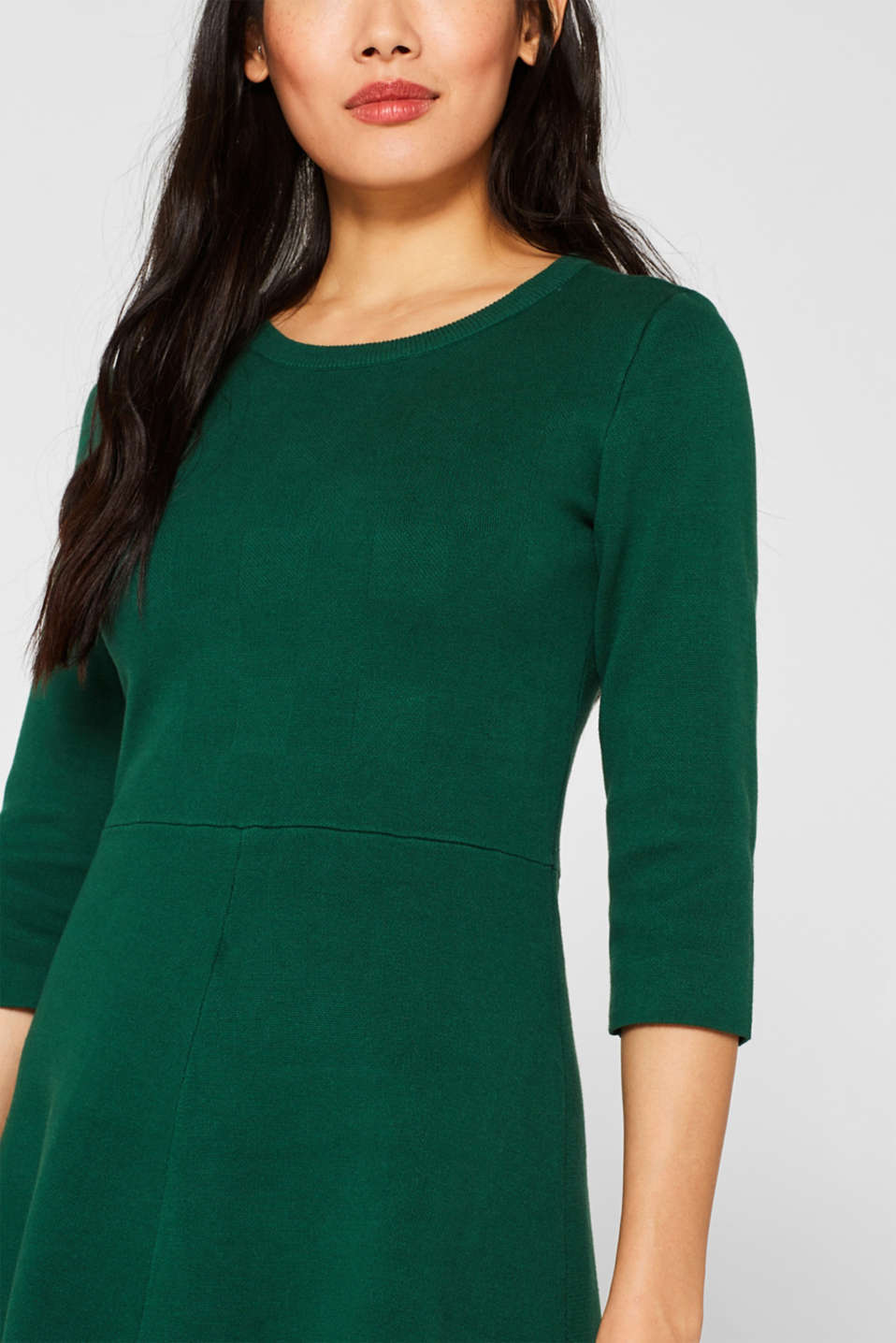 Compact knit dress in an A-line silhouette, BOTTLE GREEN, detail image number 3