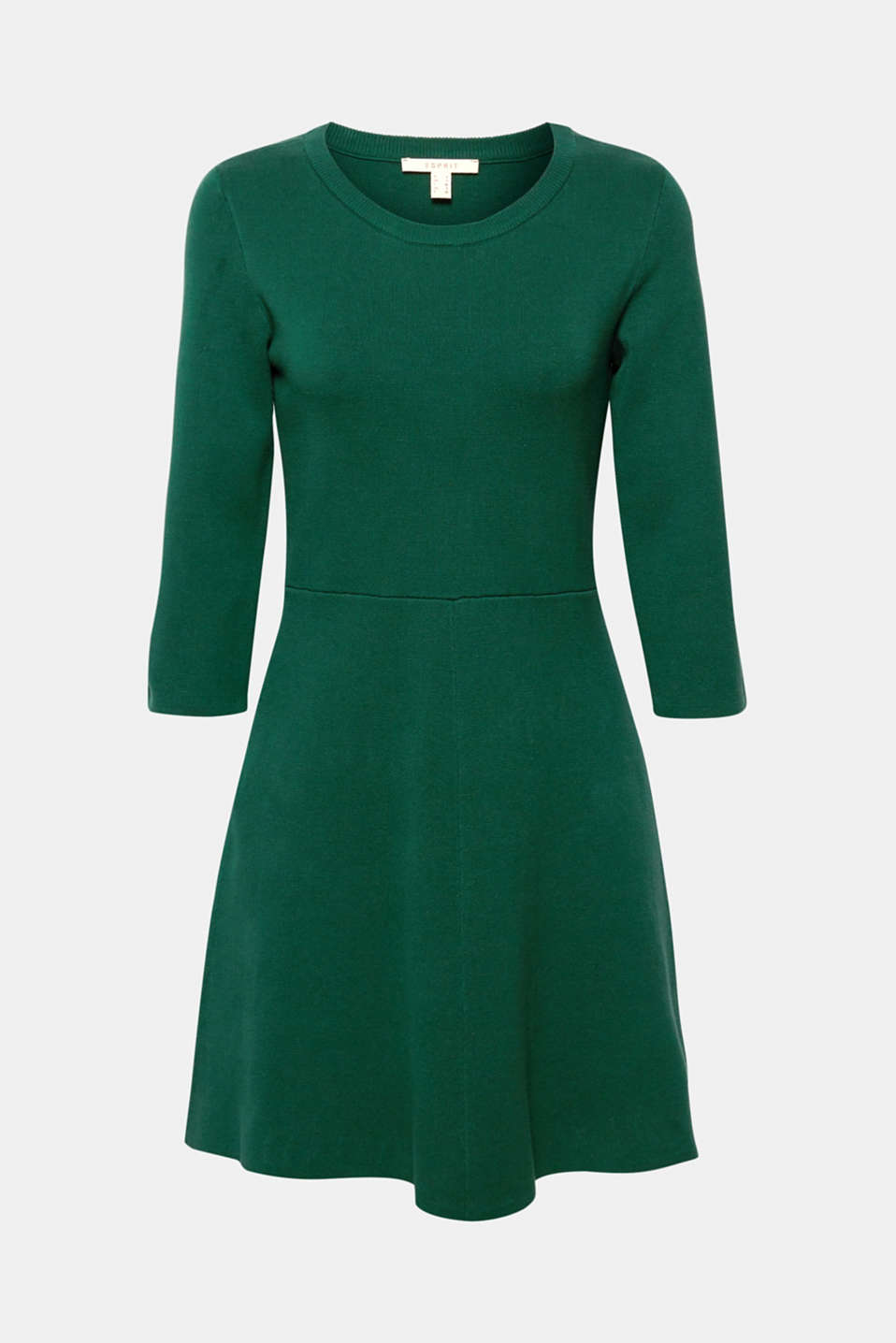 Compact knit dress in an A-line silhouette, BOTTLE GREEN, detail image number 6