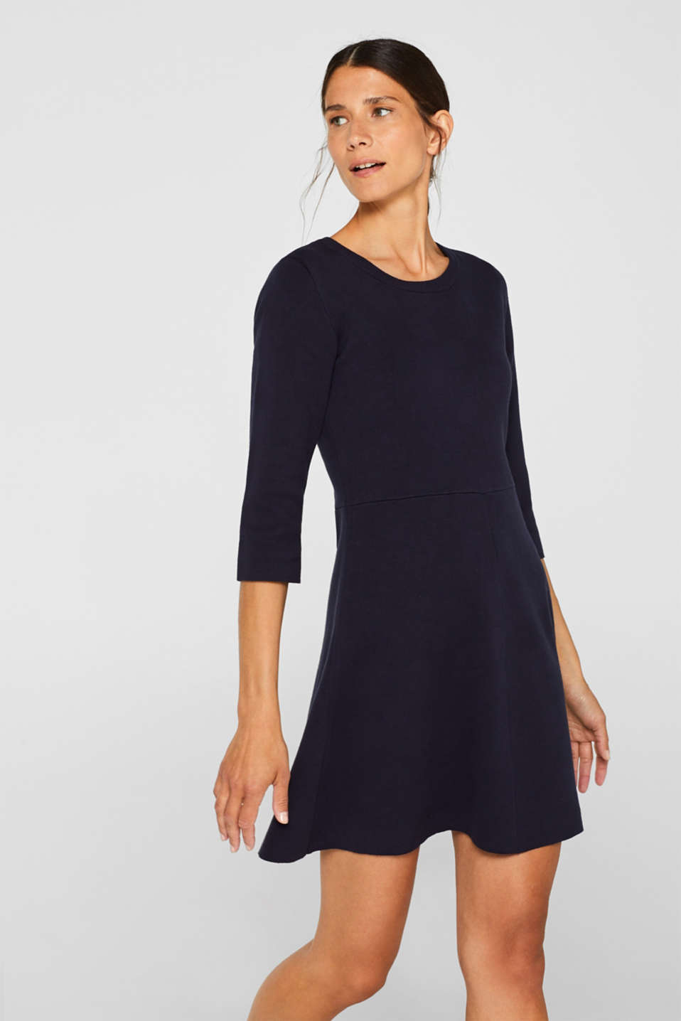 Compact knit dress in an A-line silhouette, NAVY, detail image number 0