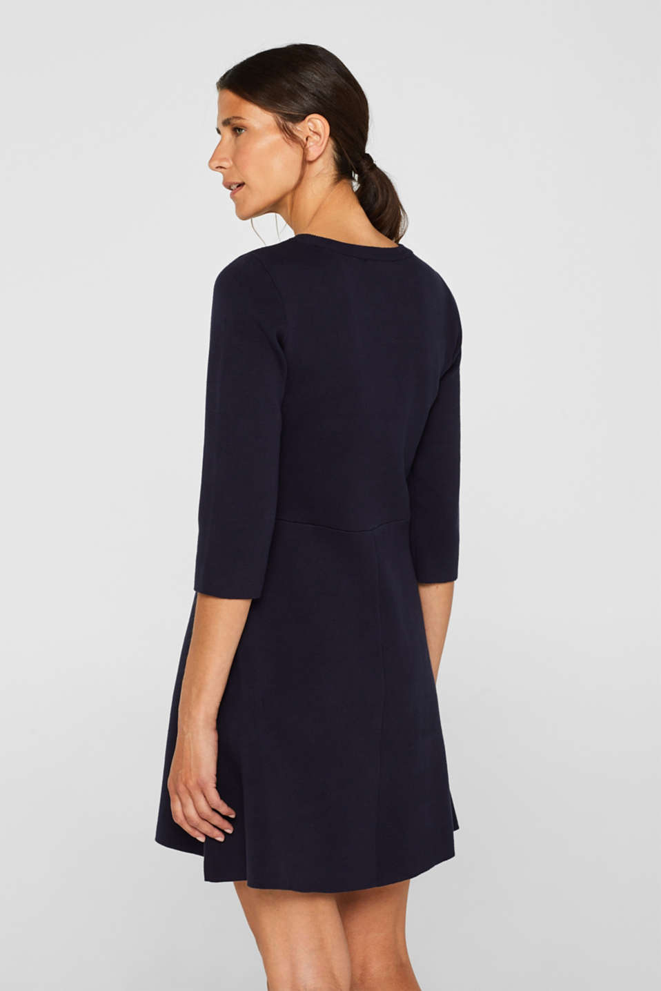 Compact knit dress in an A-line silhouette, NAVY, detail image number 2