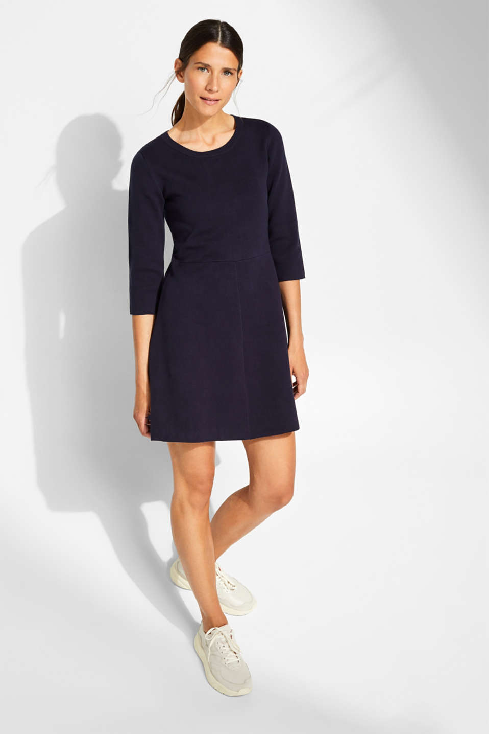 Compact knit dress in an A-line silhouette, NAVY, detail image number 1