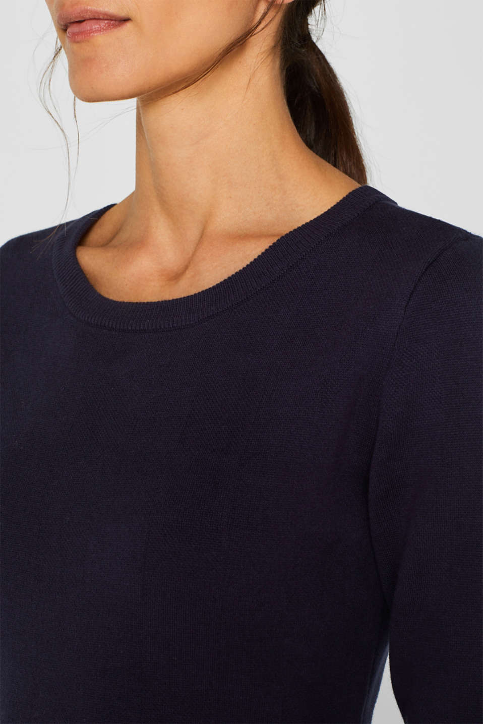 Compact knit dress in an A-line silhouette, NAVY, detail image number 3