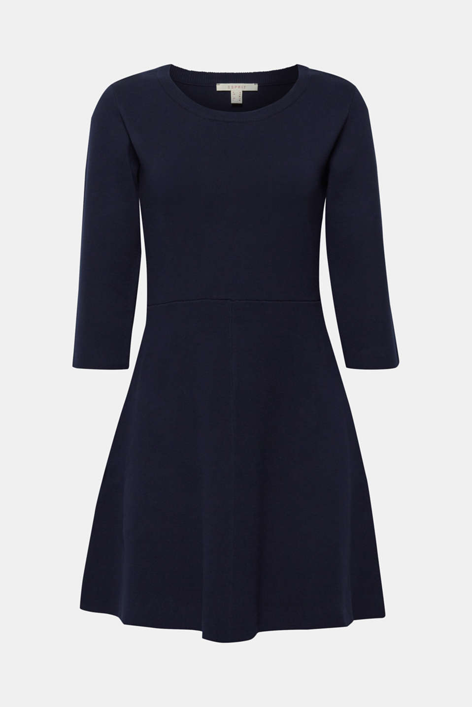 Compact knit dress in an A-line silhouette, NAVY, detail image number 5