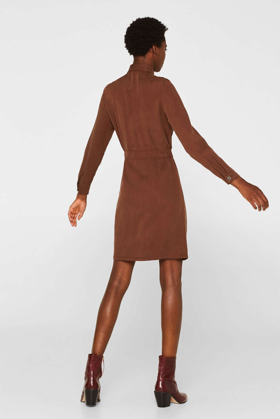Made of TENCEL™: Shirt blouse dress with a waistband, BROWN, detail image number 3