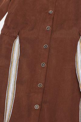 Made of TENCEL™: Shirt blouse dress with a waistband, BROWN, detail