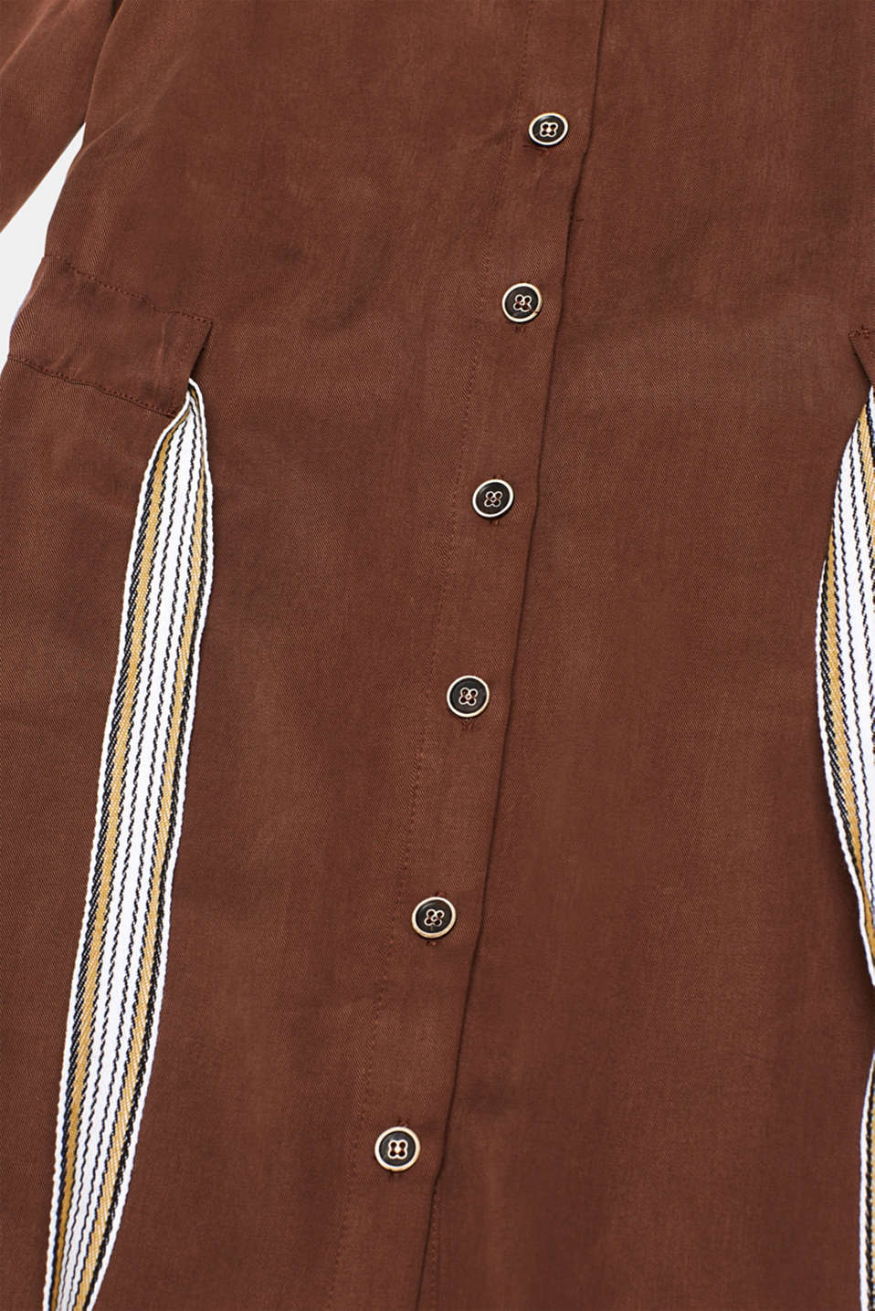 Made of TENCEL™: Shirt blouse dress with a waistband, BROWN, detail image number 4