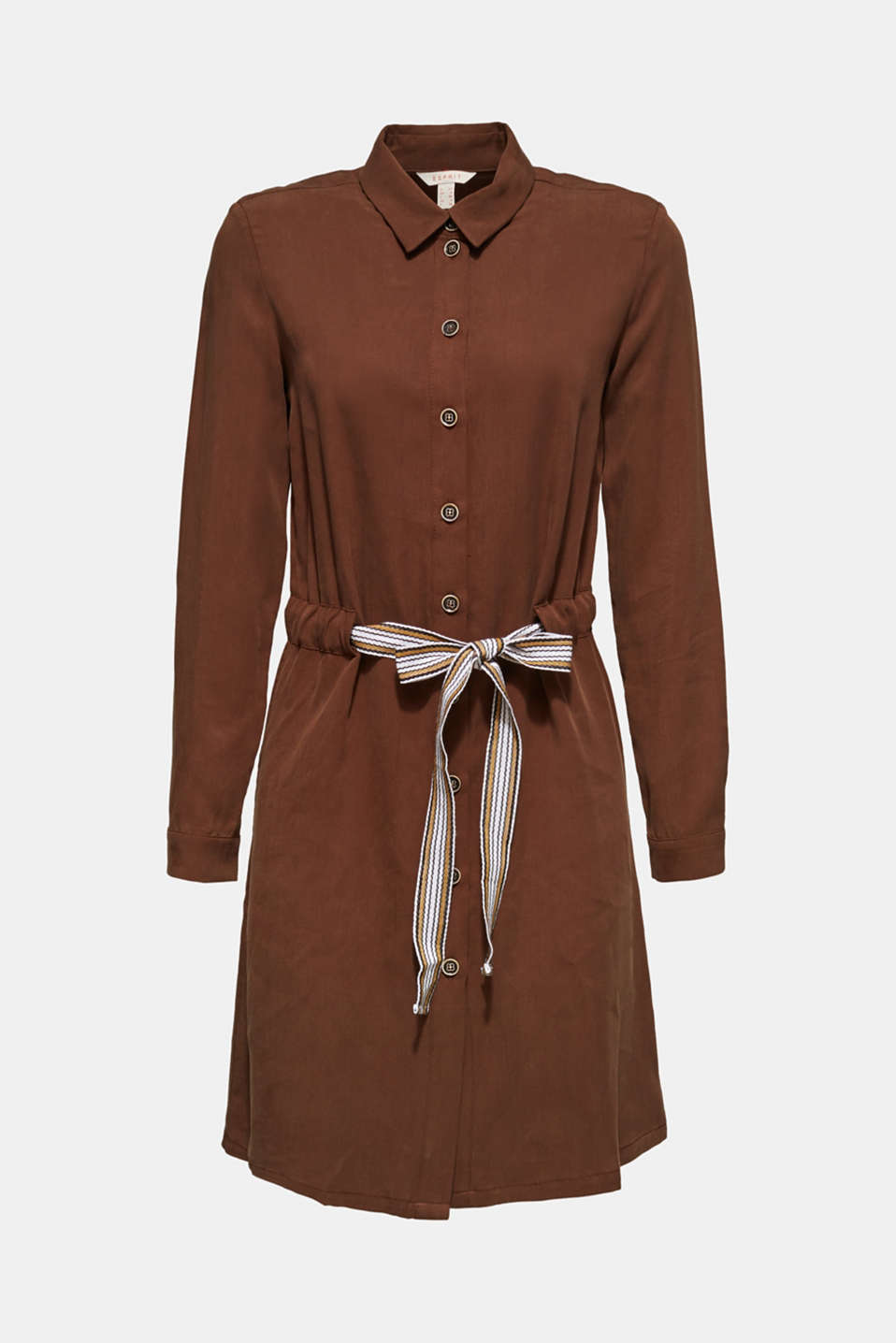 Made of TENCEL™: Shirt blouse dress with a waistband, BROWN, detail image number 6