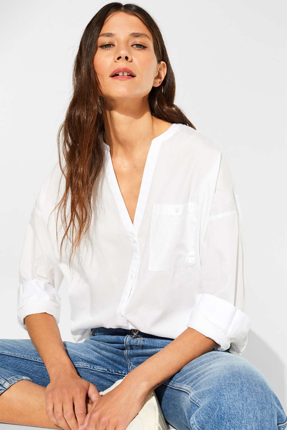 Henley blouse with organic cotton, 100% cotton