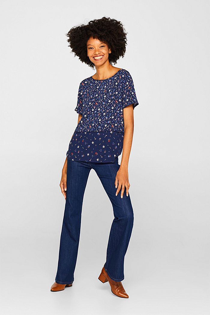 Blouse top with a mix of prints, NAVY, detail image number 1