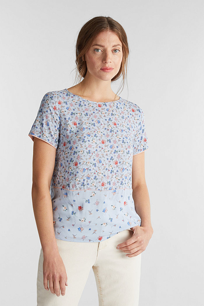 Blouse top with a mix of prints, LIGHT BLUE, overview