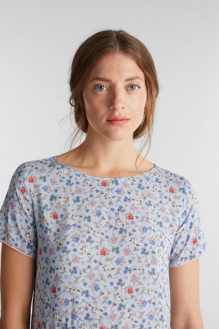 Blouse top with a mix of prints, LIGHT BLUE, detail image number 5