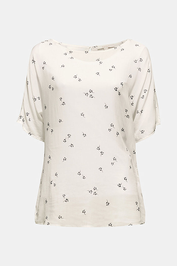Print blouse in a crinkled look, OFF WHITE, detail image number 0