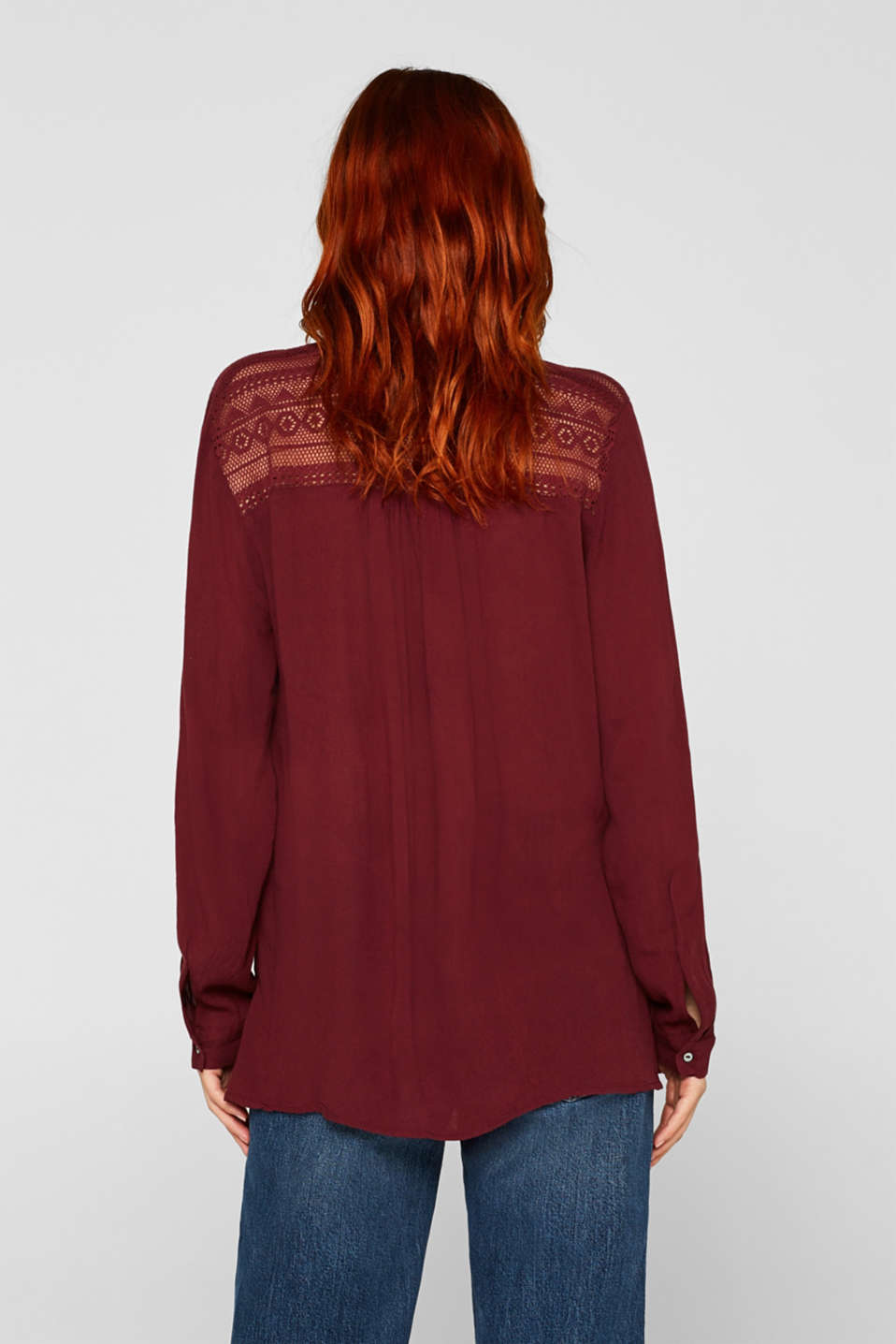 Henley blouse in a crinkled look, BORDEAUX RED, detail image number 3
