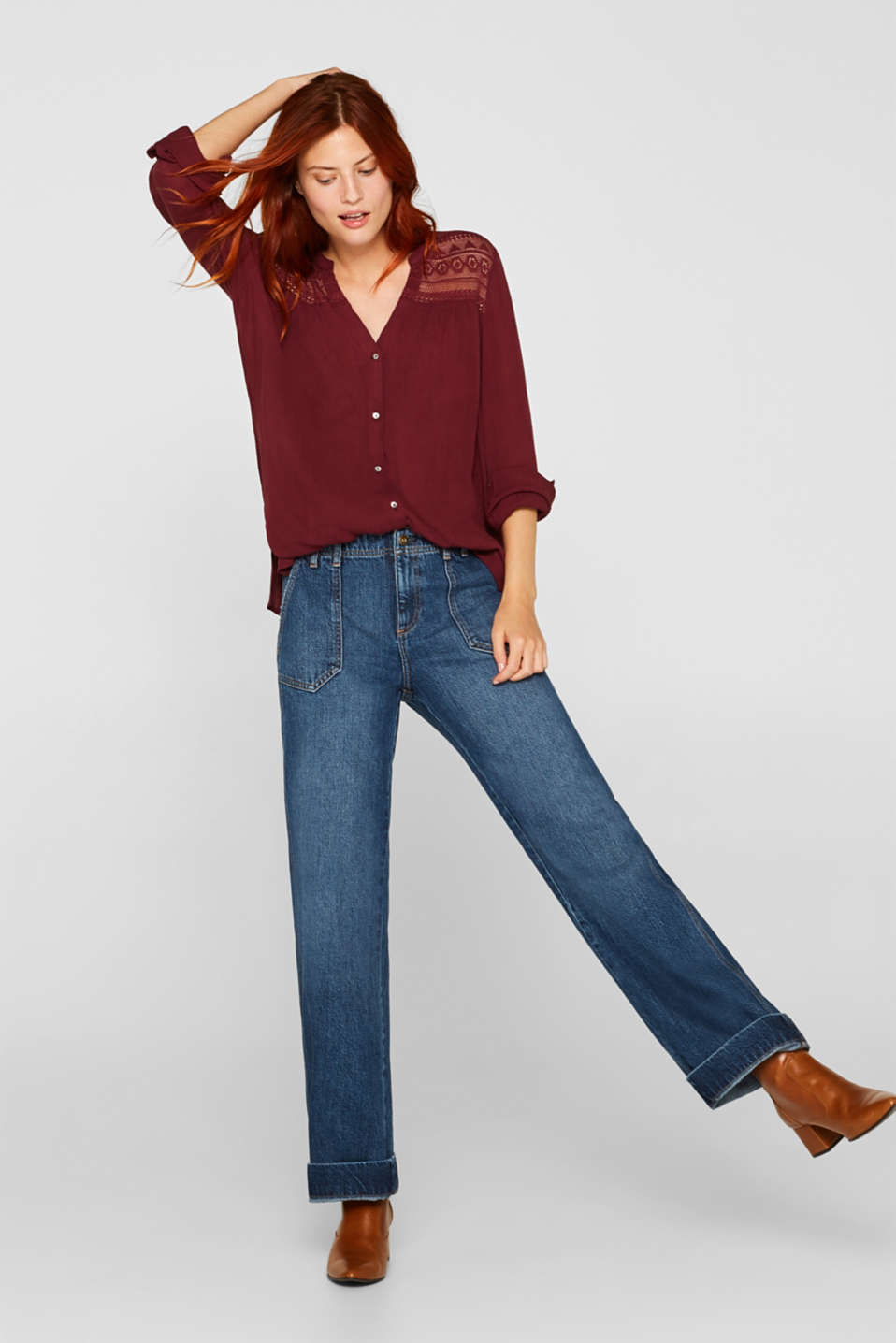 Henley blouse in a crinkled look, BORDEAUX RED, detail image number 1